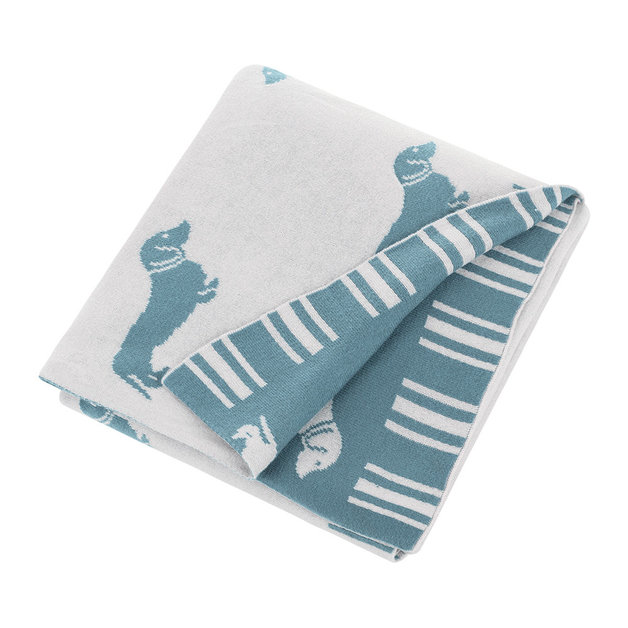 Emily Bond Knit Throw Blanket - Blue Dachshunds