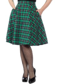 Sourpuss: Plaid Bonnie Skirt Green (S)