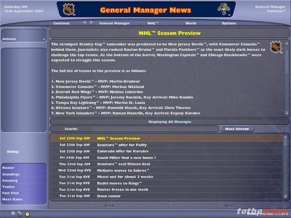 NHL Eastside Hockey Manager 2005 for PC Games image