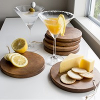 Set of 6 Mini Acacia Serving Boards (Round)