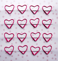Kaisercraft: K Style Colourpop Collection Paper Clips - Hot Pink Hearts (16 Pack)