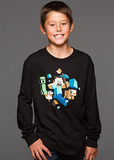 Minecraft Run Away! Glow in the Dark Youth Long Sleeve Shirt (Large)