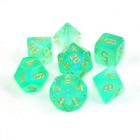 Chessex Signature Polyhedral Dice Set Borealis Green/Gold image