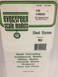 Evergreen Styrene V-Groove 15X29cm X1 mm Sp3.2 mm