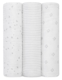 Aden + Anais: Metallic Swaddle - Silver (3 Pack)