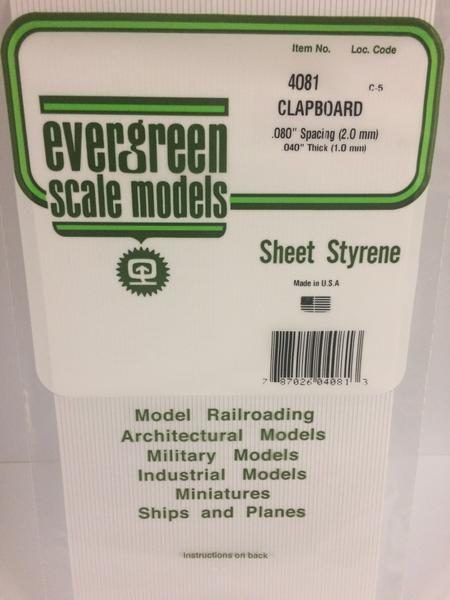 Evergreen Styrene Clapboard 15X29cm X1 mm Sp2 mm