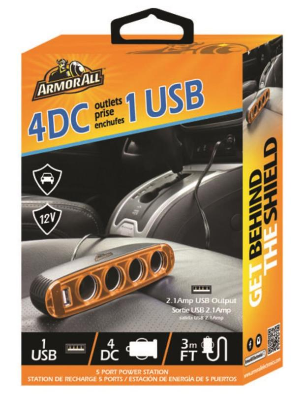 Armor All: 12V Charger w/ 4DC & 1USB Ports