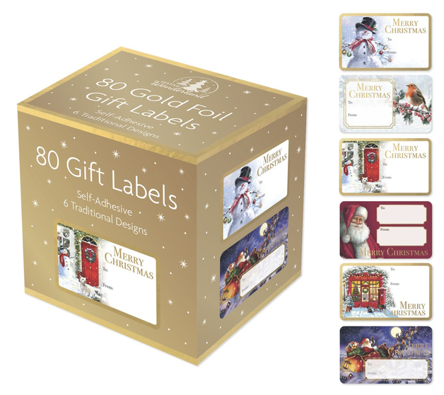 Adhesive Christmas Gift Labels - Gold (Pack of 80)
