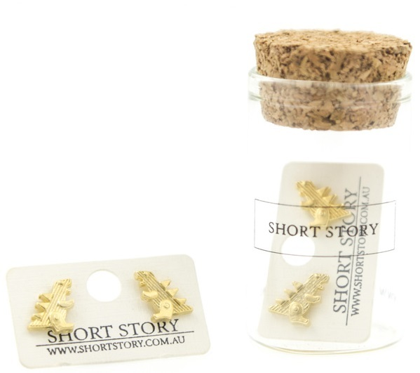 Short Story: Funky Play Earrings - Gold Godzilla