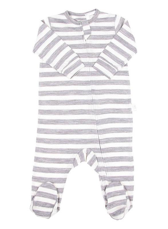Babu: All-in-one with feet - Grey Stripe