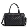 Isoki: Double Zip Satchel Nappy Bag - Quilted Black