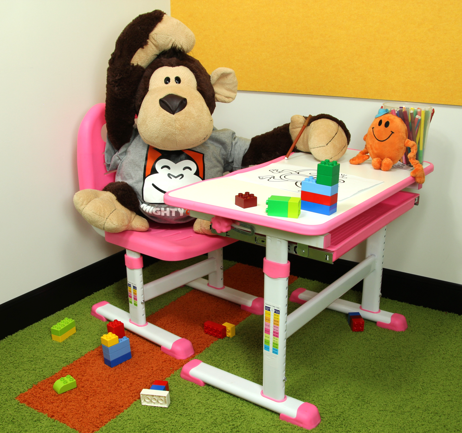 Gorilla Office: Kids Height Adjustable Desk with Chair - Pink image
