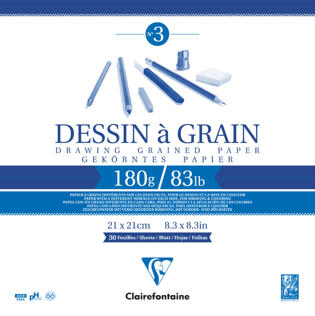 Clairefontaine: Dessin a Grain Glued 21cm Square Sketch Pad - 180g 30 Sheets
