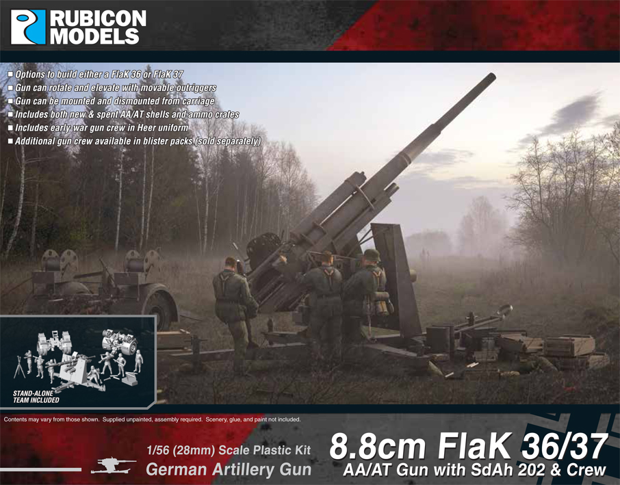 Rubicon 1/56 8.8cm FlaK 36/37 AA/AT Gun with SdAh 202 & Crew image
