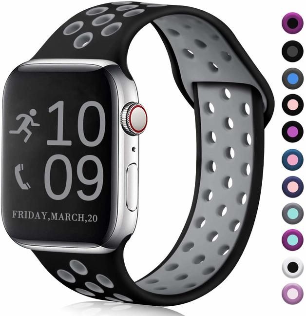 Ape Basics: Replacement Sport Band for Apple Watch - Black/Gray (42mm/44mm, 220mm)