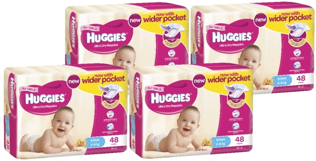 Huggies Ultra Dry Nappies Bulk Shipper - Infant Girl 4-8kg (192)