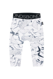 Bonds Stretchy Leggings - Shark in the Dark White (12-18 Months)