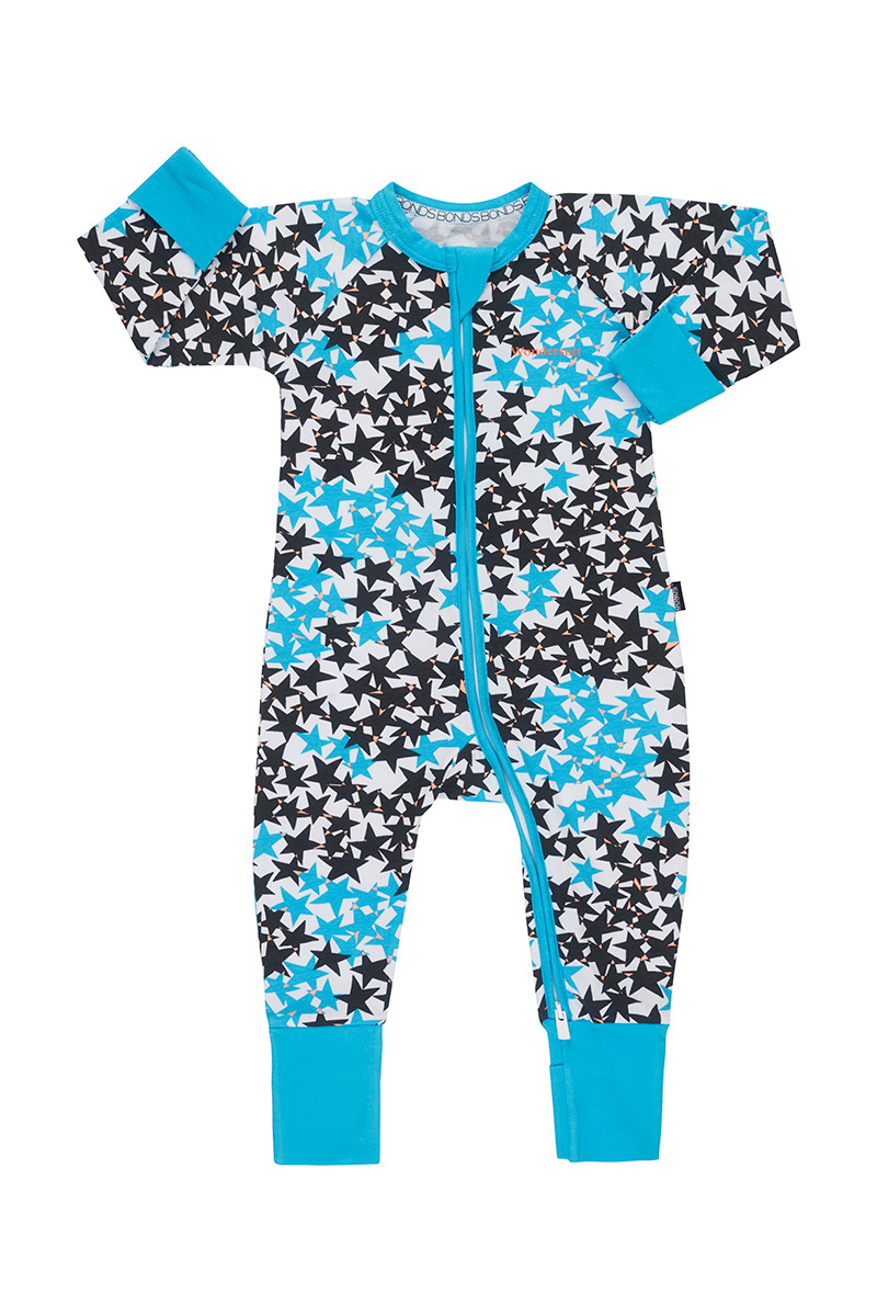 Bonds Zip Wondersuit Long Sleeve - Super Star Blue (3-6 Months) image