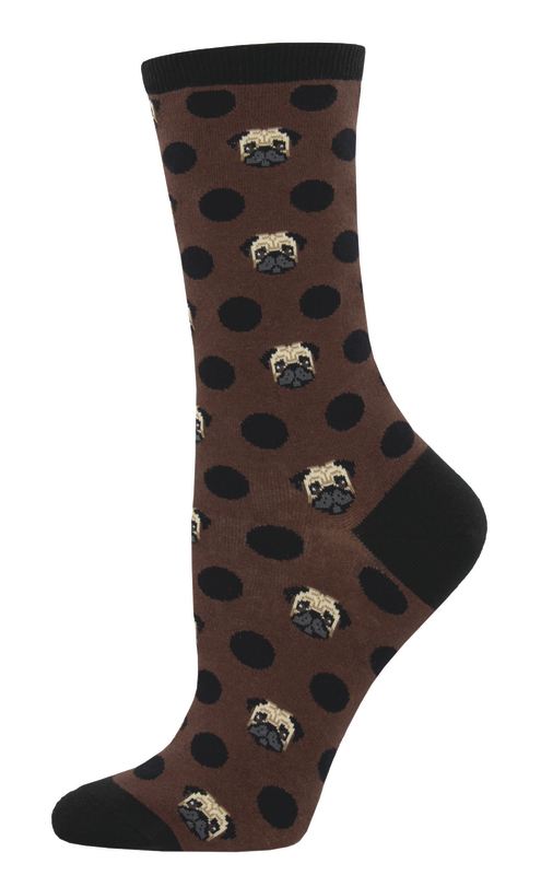 Socksmith: Women's Pugka-Dot Crew Socks - Brown