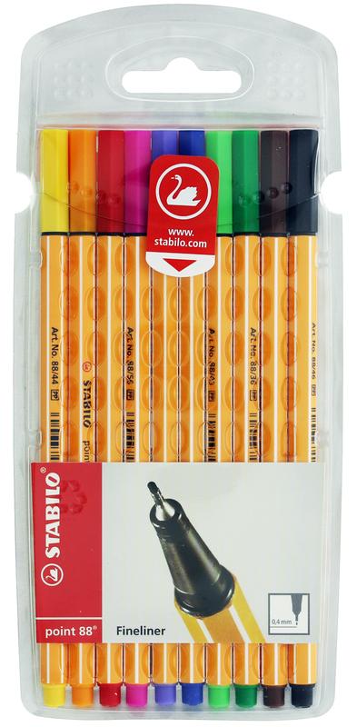 Stabilo 88 Fine Liner Pens (10 Pk)