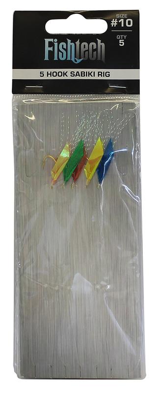 Fishtech 5 Hook Sabiki Rig - Size 10 (5 per pack)
