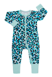 Bonds Zip Wondersuit Long Sleeve - Jungle Spot Aqua Frost (3-6 Months)