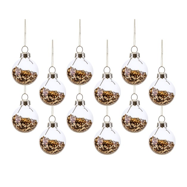 Gold Mini Baubles (Pack Of 12)