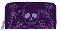 Loungefly - Floral Skull Purple Zip-Around Wallet