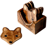 Wooden Fox Coaster Set (6 Pcs)