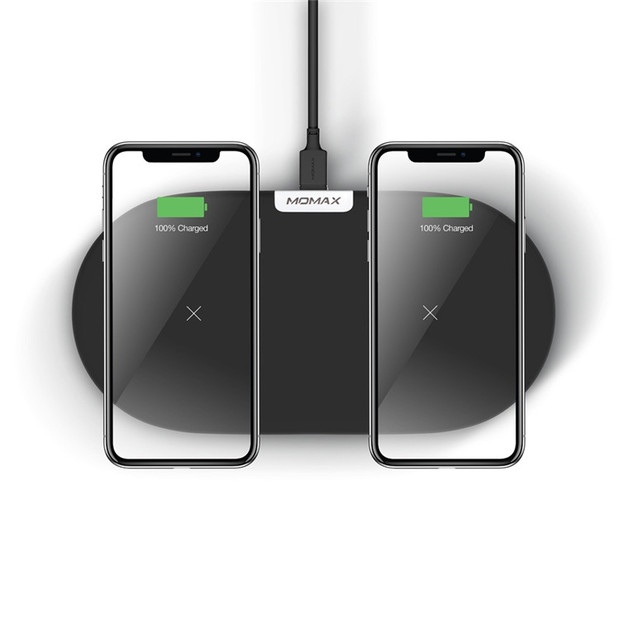 Momax: Dual Fast Wireless Charging Pad - Black
