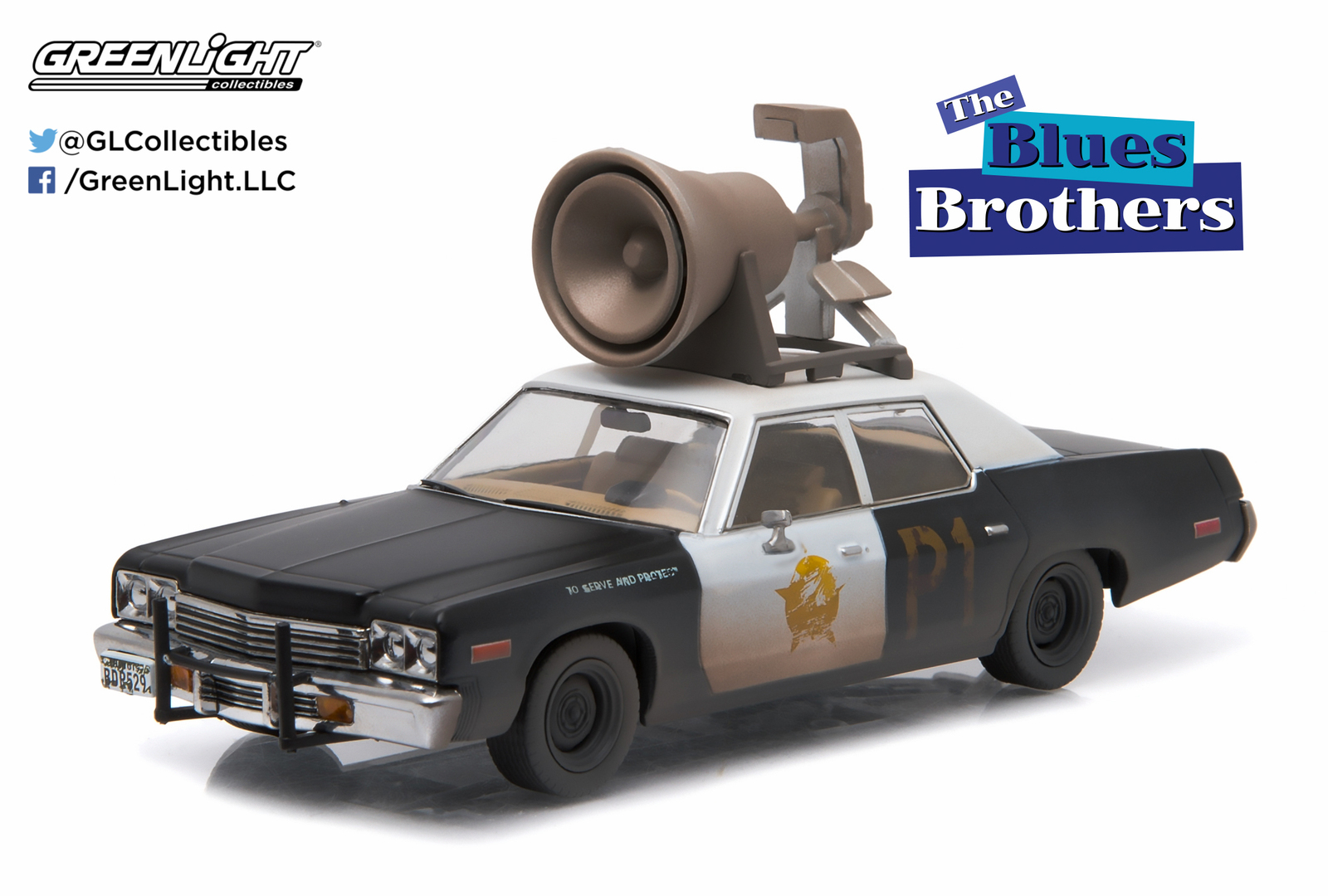 "1/43: Dodge Monaco ""Bluesmobile"" with Roof Horn - Diecast Model image"