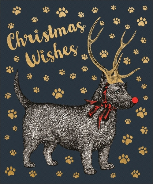 Chase & Wonder:Individual Christmas Card - Dog With Antlers