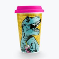 Mustard: Double Wall Ceramic Travel Mug - T-Rex
