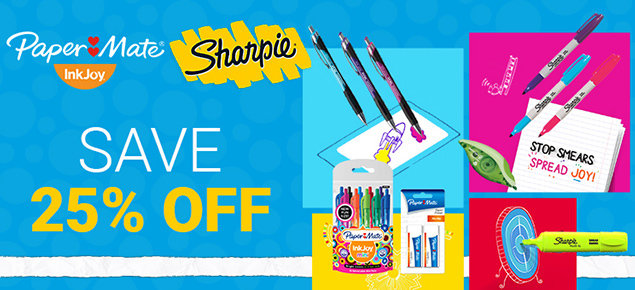 25% off Sharpie & Paper Mate!