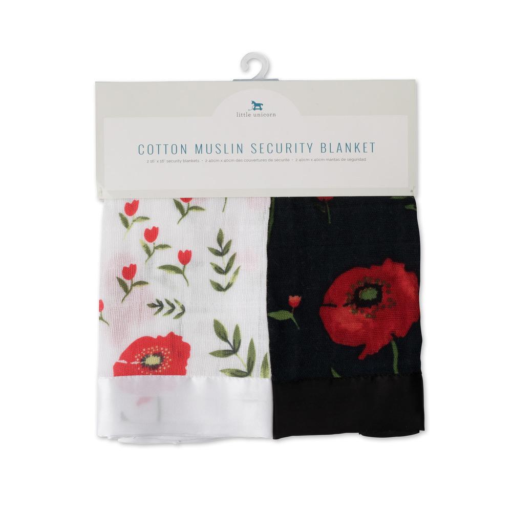 Little Unicorn: Muslin Security Blanket 2 Pack - Summer Poppy & Dark Poppy image