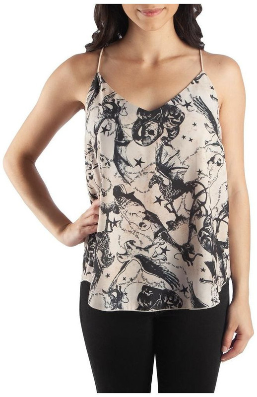 Harry Potter Magical Creatues All Over Print Woven String Camisole: L