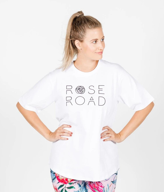 Rose Road: Tee - White With Logo - Large