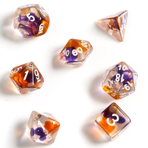 Sirius Dice Translucent Polyhedral Dice Set- Purple/Orange