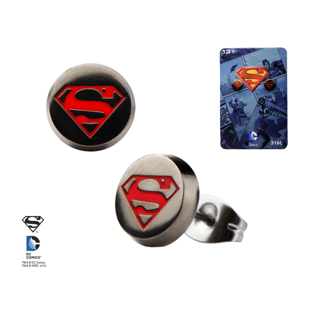 Superman Logo Round Stud Earrings