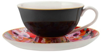 Maxwell & Williams Cashmere Bloems Tea Cup & Saucer - Black/Red (200ml)