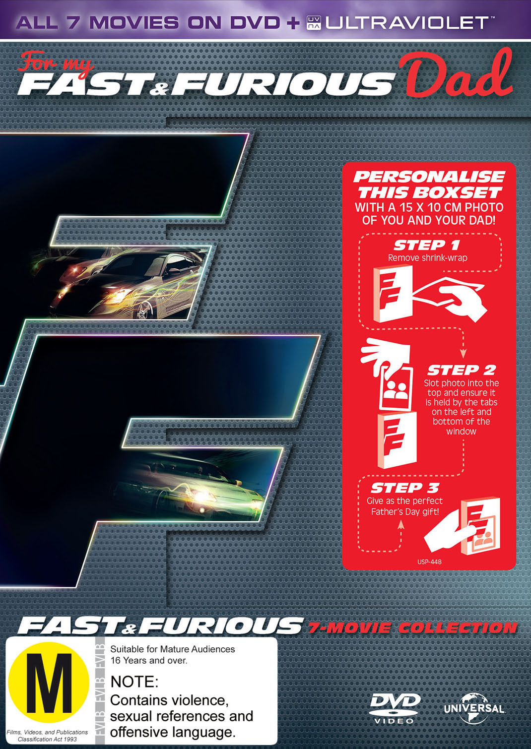 fast and furious 1 7 uv photo dvd buy now at mighty ape nz. Black Bedroom Furniture Sets. Home Design Ideas