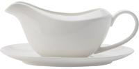Casa Domani Casual White Gravy Boat & Saucer 400ML Gift Boxed