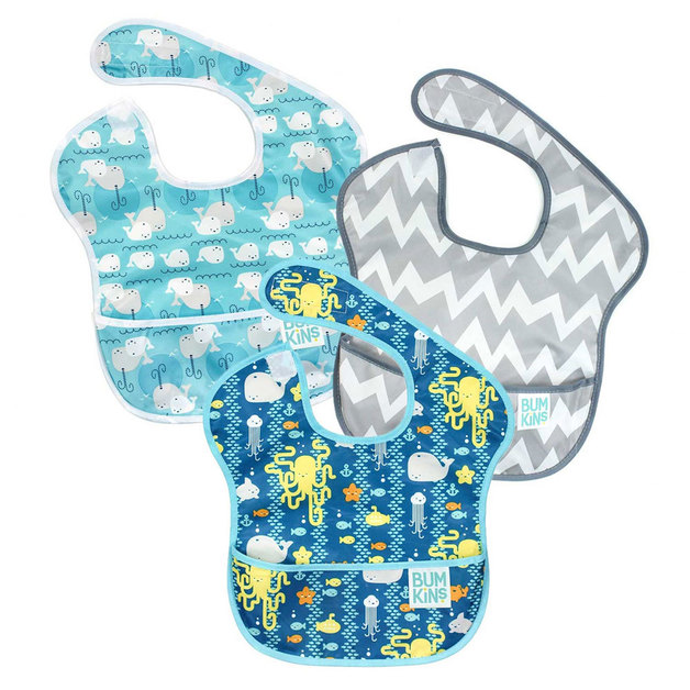 Bumkins: SuperBib 3 Pack - Under the Sea/Whales/Chevron