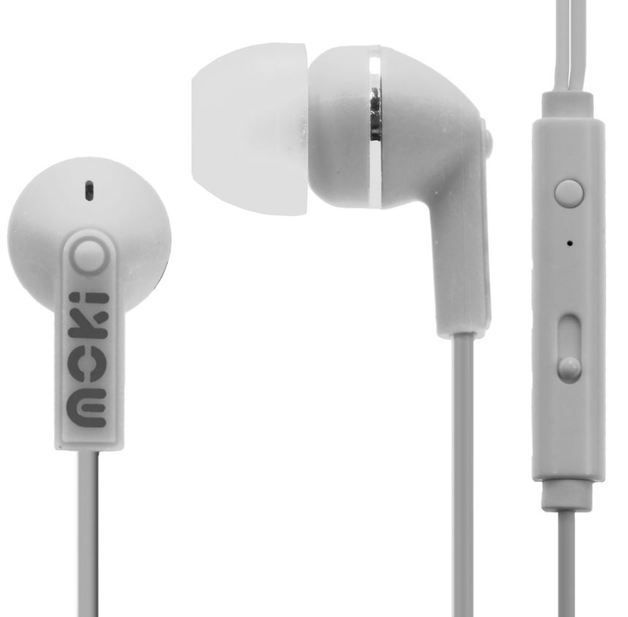 Moki Noise Isolation Earbuds with Microphone & Control - White