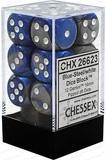 Chessex Gemini 16mm D6 Dice Block: Blue-Steel/White