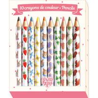 Djeco: Mini Coloured Pencils Aiko (10 Pack)