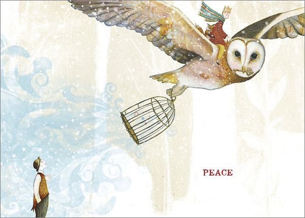 Sacred Bee: Individual Christmas Card - Owl's Peace