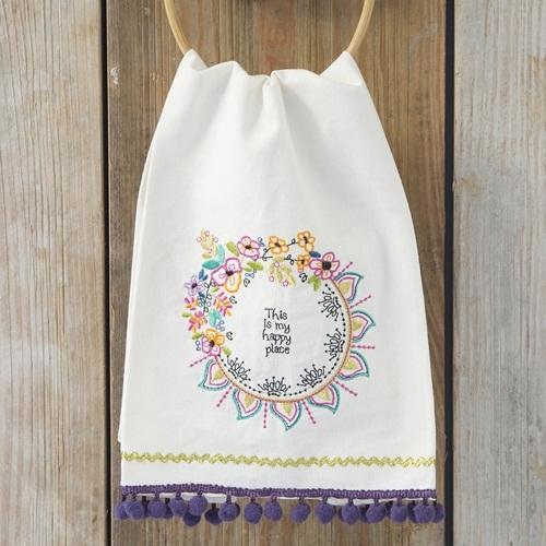Natural Life: Linen Tea Towel - Happy Place