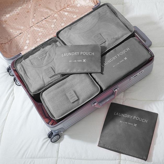 Jet Set 6-Piece Travel Organiser Set - Grey