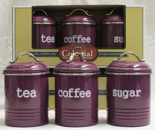 Tea/Sugar/Coffee Canisters 3 Set - Aubergine